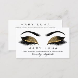 Makeup Eyebrows Lashes  Social Sepia Gold White Business Card