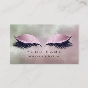 Makeup Silver Mint Pink Glass Eyes Lashes Glitter Business Card