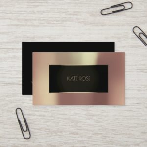 Metallic Rose Gold Black Champaign Frame Vip Business Card
