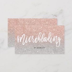 Microblading elegant typography silver rose gold business card