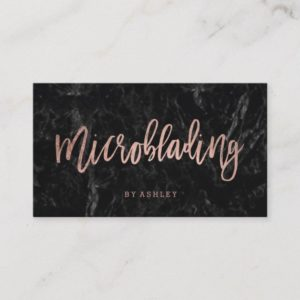 Microblading rose gold typography black marble business card