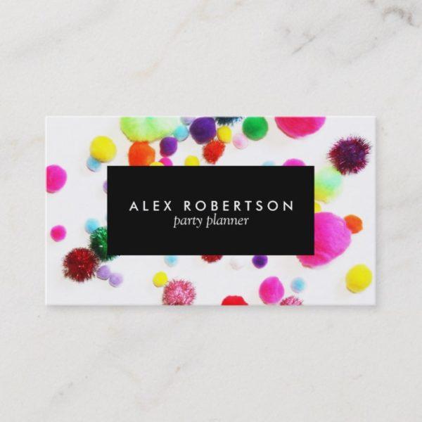 Minimal colorful pom pom business card