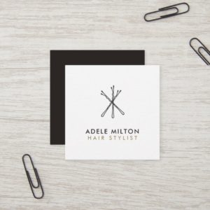Minimal Elegant Black White Bobby Pins Hair Square Business Card