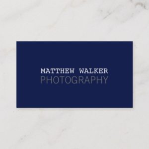 MINIMAL plain modern smart dark navy blue grey Business Card