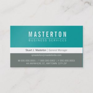 MINIMAL plain simple corporate turquoise blue grey Business Card