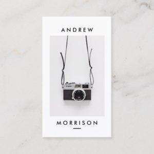 Minimalist Black and White Camera Photographer Business Card