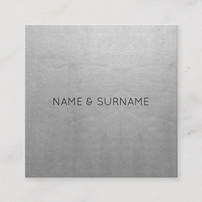 Minimalist Chic Modern Silver Square Business Card