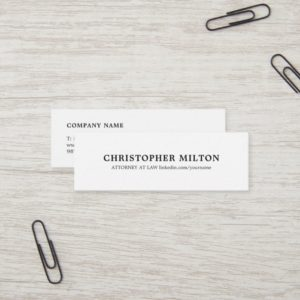 Minimalist Elegant Black and White Consultant Mini Business Card