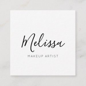 Minimalist Modern Calligraphy Square Business Card