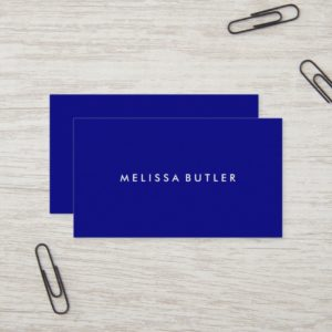 Minimalist Modern Navy Blue Business Card