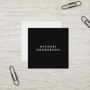 Minimalist Professional Elegant Black Square Business Card