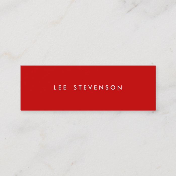 Minimalistic Red Mini Modern Minimalist Mini Business Card
