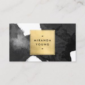 Modern Abstract Black Watercolor Brushstrokes Business Card