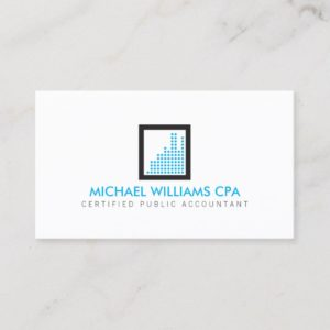 Modern Accountant, Financial Logo in Blue Business Card