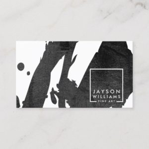 Modern Artist Abstract Black Brushstrokes Designer Business Card