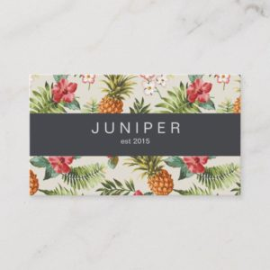 Modern Beautiful Tropical Blooms pineapple pattern Business Card
