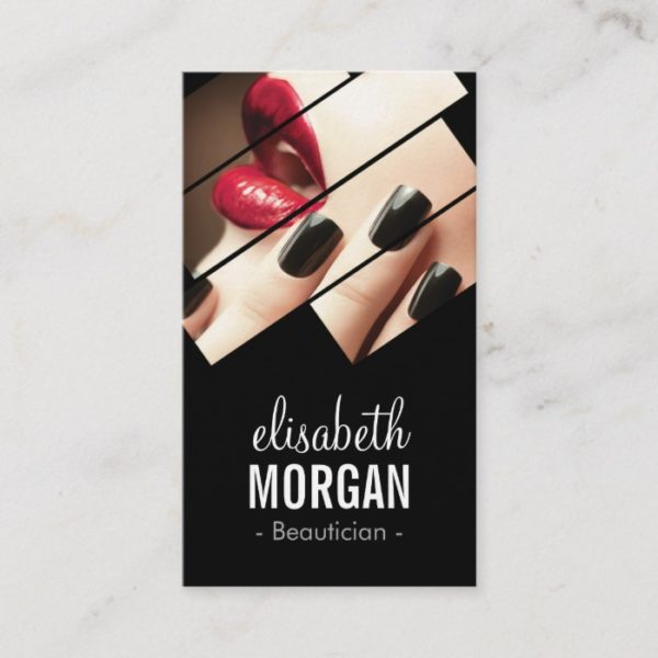 Modern Black and Red Fashion Makeup Beauty Salon Business Card