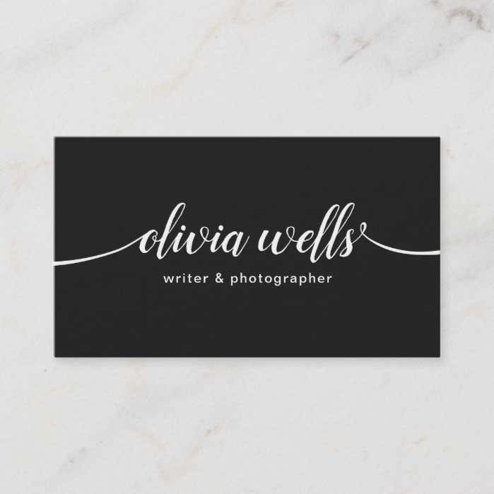 Modern Black Handwritten Script Calligraphy Business Card