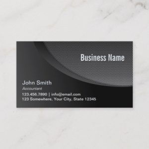 Modern Black Metal Mesh Accountant Business Card