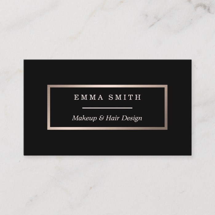 Modern Black Rose Gold Minimalist Business Card