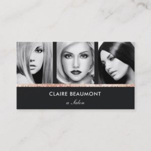 Modern Black Rose Gold Sequin Salon 3 Photo Card