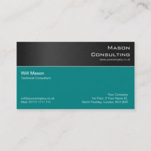 Modern Black Teal Steel Professional Business Card