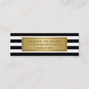 Modern Black White Stripes Gold Label Mini Card