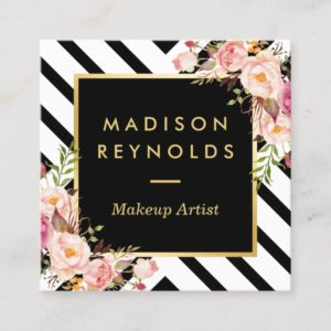 Modern Black White Stripes Pink Floral Gold Frame Square Business Card