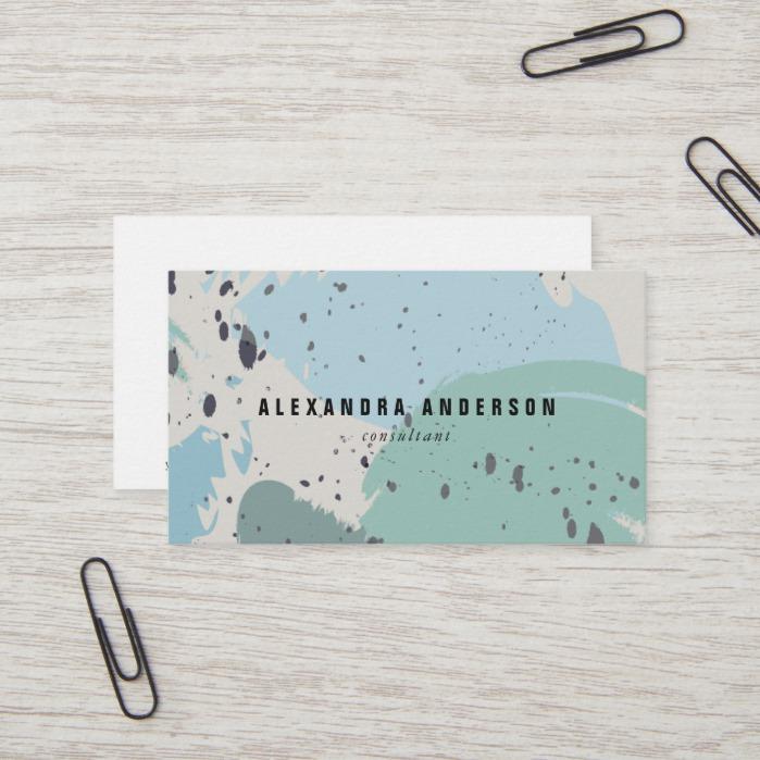 Modern Blue Gray Brush Strokes Business Card