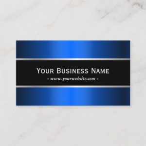Modern Blue Metallic Black Stripe Professional Business Card