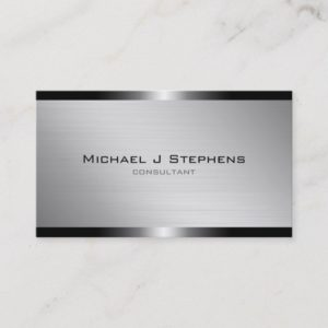 Modern Brushed Aluminum Business Card