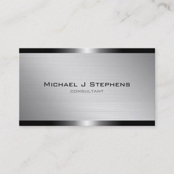 Modern Brushed Aluminum Business Card