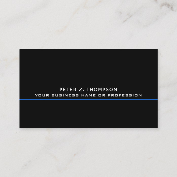 modern business card with thin blue line on black