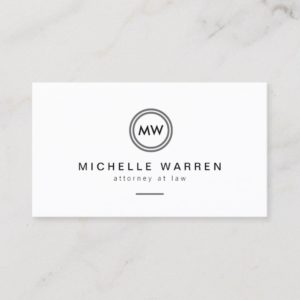 Modern Circle Monogram Initials Attorneys Business Card