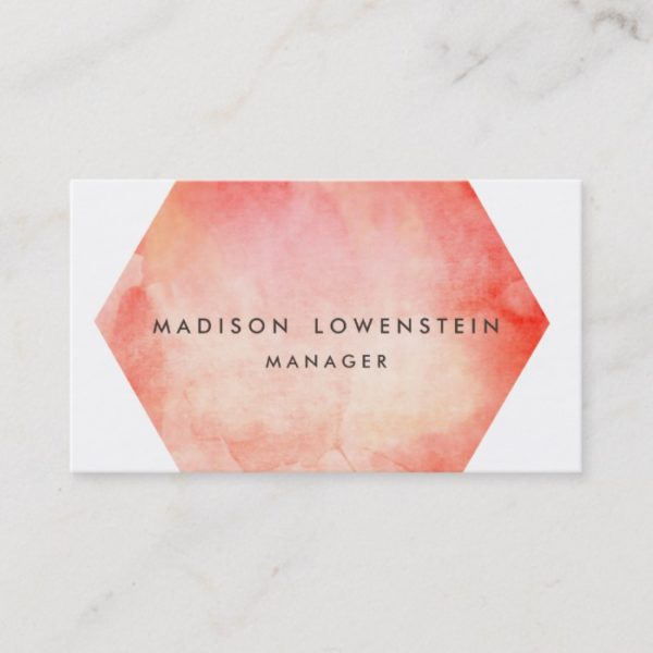 Modern Coral Watercolor Bright Chic Business Card