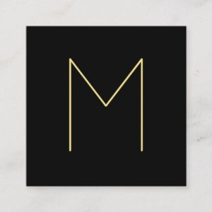 Modern Elegant Black and Gold Monogram Square Business Card