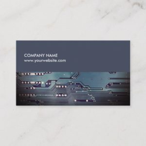 Modern Elegant Blue Circuit Board Consultant Business Card