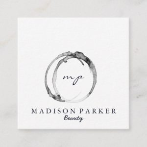 Modern Elegant Champagne Abstract Beauty Stylist Square Business Card