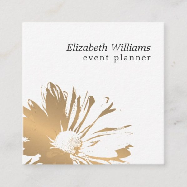 Modern Elegant Faux Gold Floral Event Planner Square Business Card