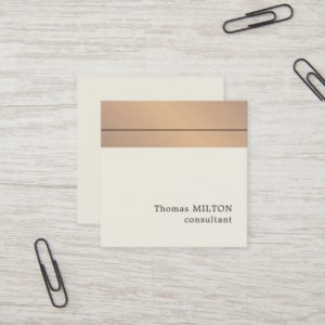 Modern Elegant Faux Gold Stripes Consultant Square Business Card