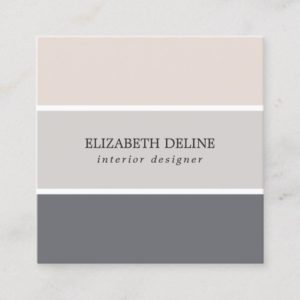 Modern Elegant Pastel Stripes Interior Designer Square Business Card