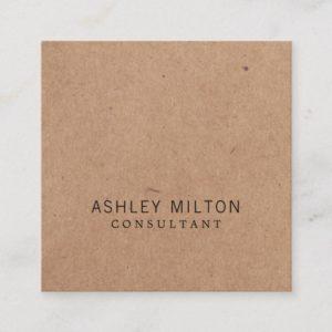 Modern Elegant Rose PRINTED Kraft Paper Consultant Square Business Card