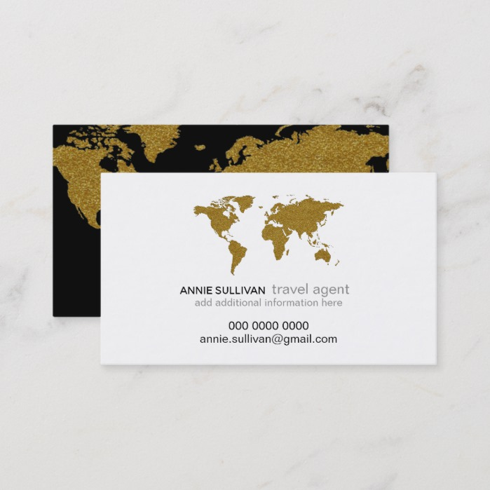 modern faux gold world map prof. travel agent business card