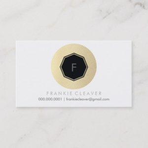 MODERN GEO OCTAGON monogram bold spot gold foil Business Card