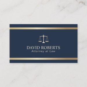 Modern Gold Stripe Navy Blue Lawyer Attorney Business Card