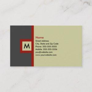 Modern Gray & Red Monogram Business Card
