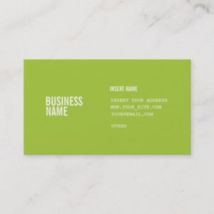 Modern Green Format With Columns Condensed Fonts Business Card