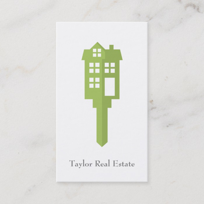 Modern Green House Logo Real Estate Business Cards