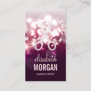 Modern Hair Stylist - Pink Glitter Sparkle Business Card