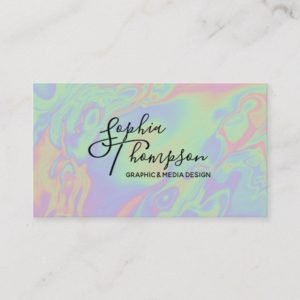 Modern Holographic Style Rainbow Pastel Business Card